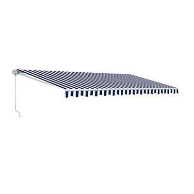 13 ft. Manual Patio Retractable Awning (120 in. Projection) in Blue and White Stripes