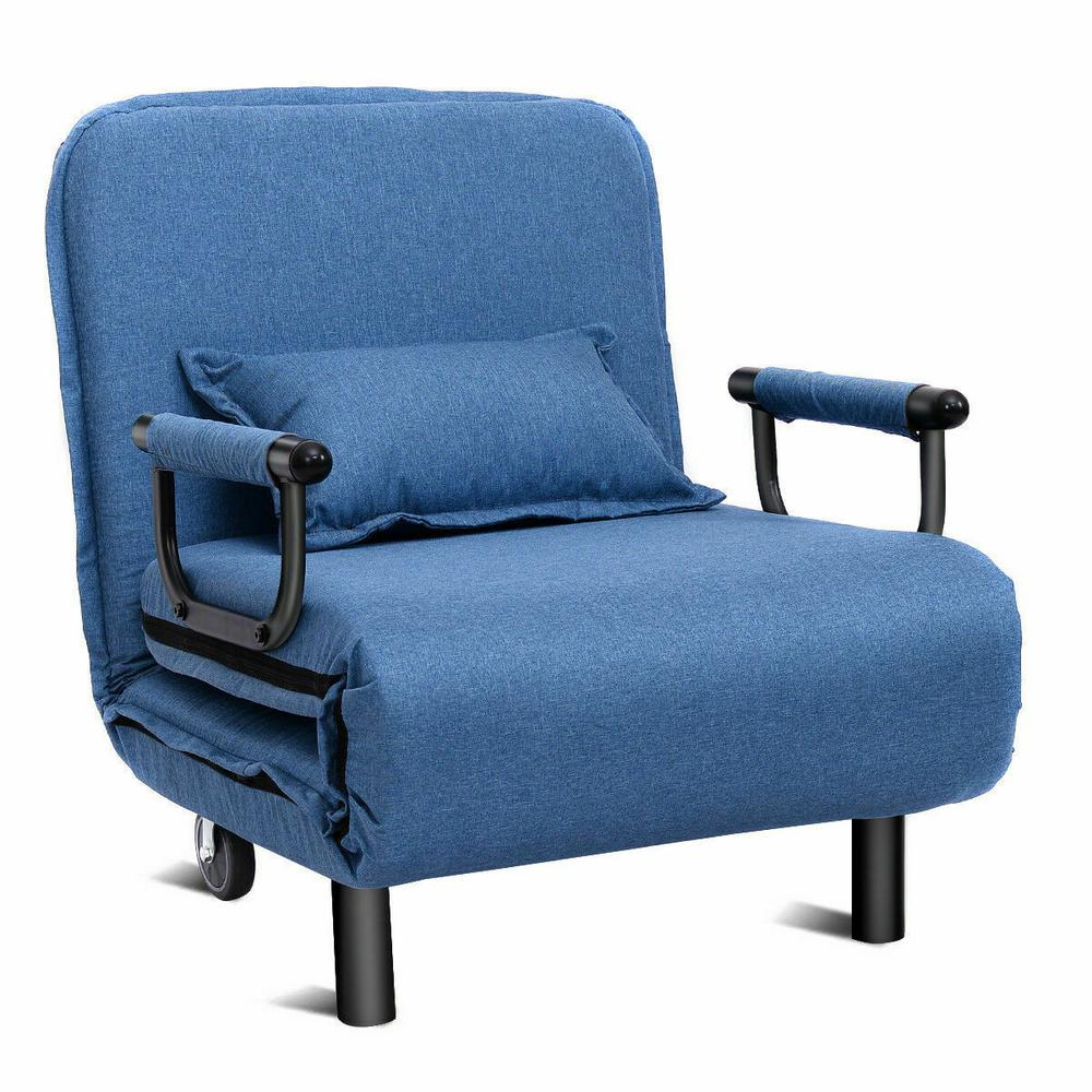 Convertible Sofa Bed Folding Blue Arm Chair Sleeper Leisure Recliner Lounge Couch New