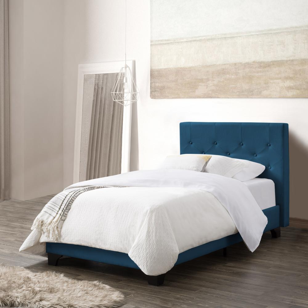 Nova Ridge Ocean Blue Fabric Twin/Single Diamond Button-Tufted Bed