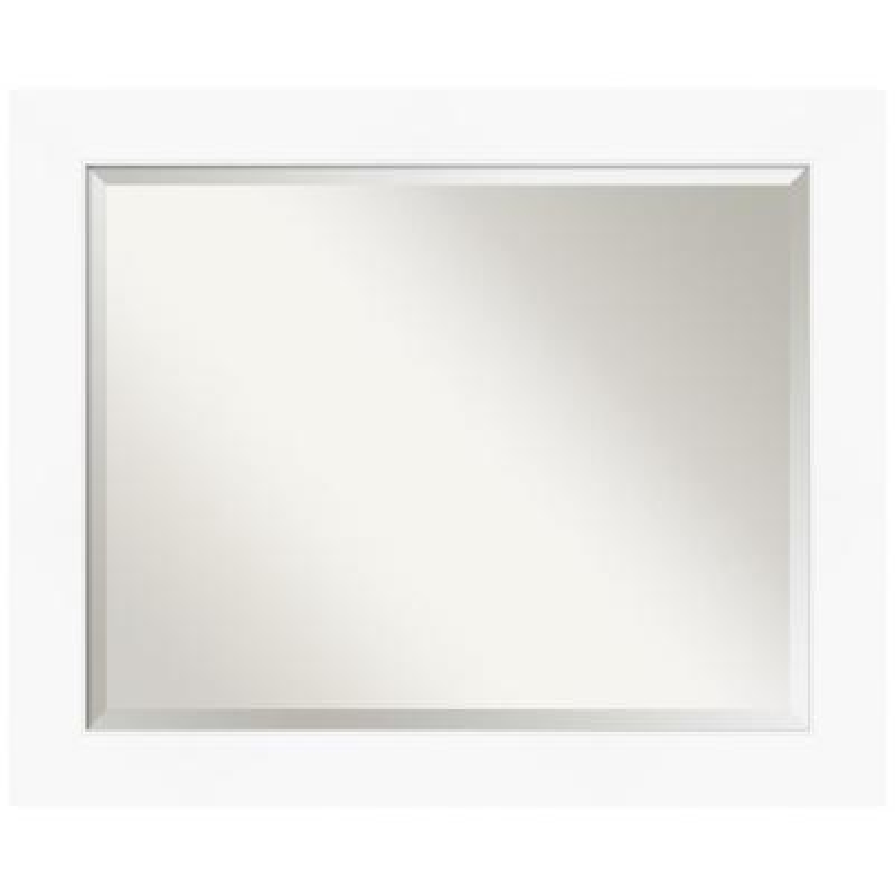 Amanti Art Medium Rectangle Matte White Beveled Glass Modern Mirror 29 38 In H X 23 38 In W Dsw4593101 The Home Depot