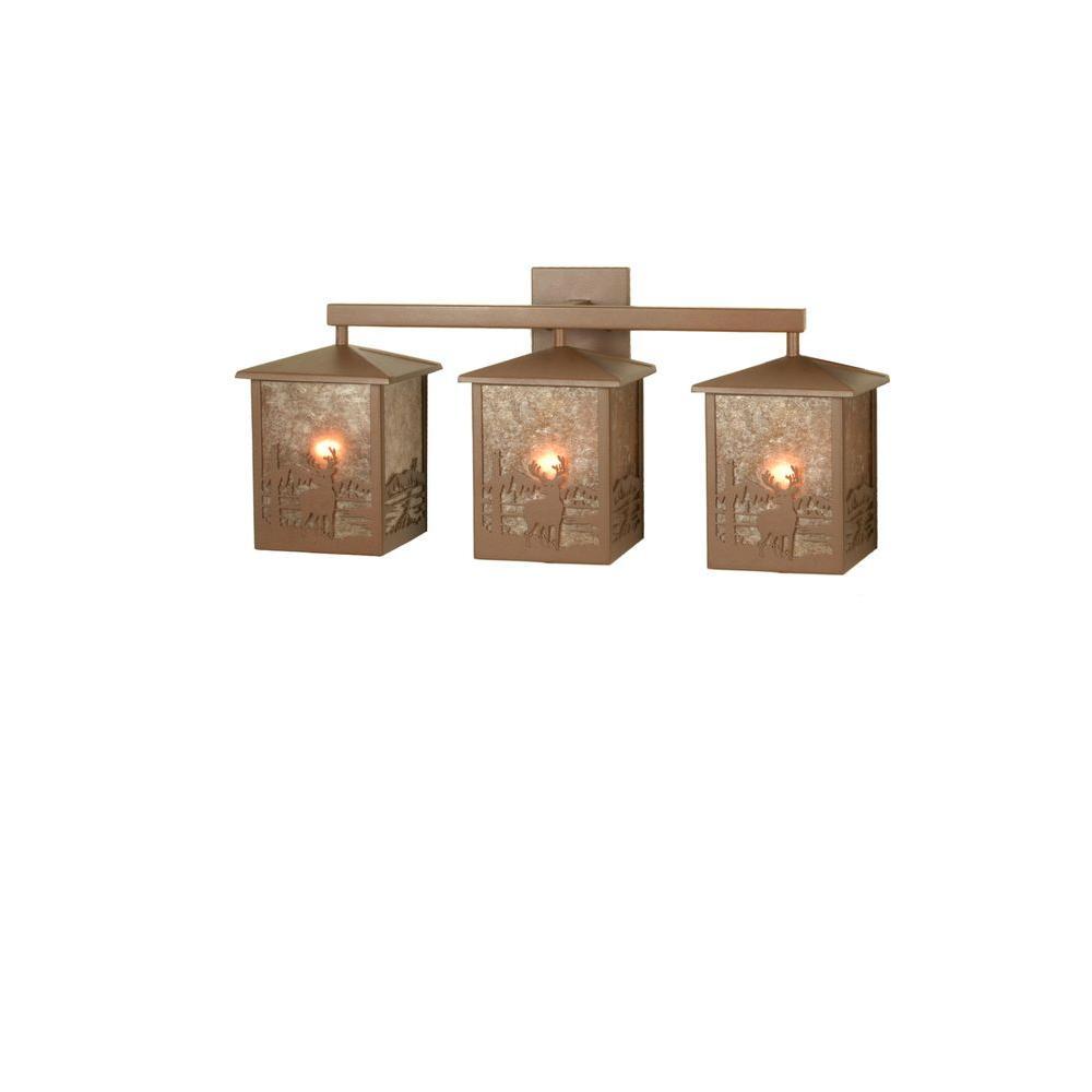 Illumine 3 Light Deer Creek Vanity Light Rust Finish Mica Glass