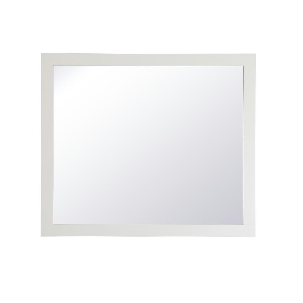Medium Rectangle White Contemporary Mirror (36 in. H x 42 in. W)