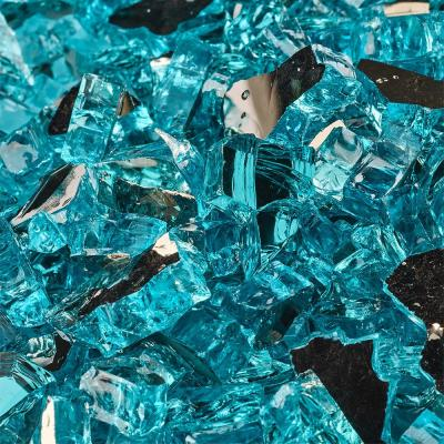 1/4 in. 10 lbs. Reflective Tahitian Blue Original Fire Glass for Indoor and Outdoor Fire Pits or Fireplaces