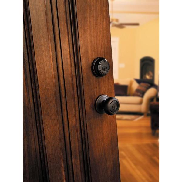 Kwikset 991 Juno Entry Knob and Single Cylinder Deadbolt Combo Pack featuring SmartKey in Venetian Bronze