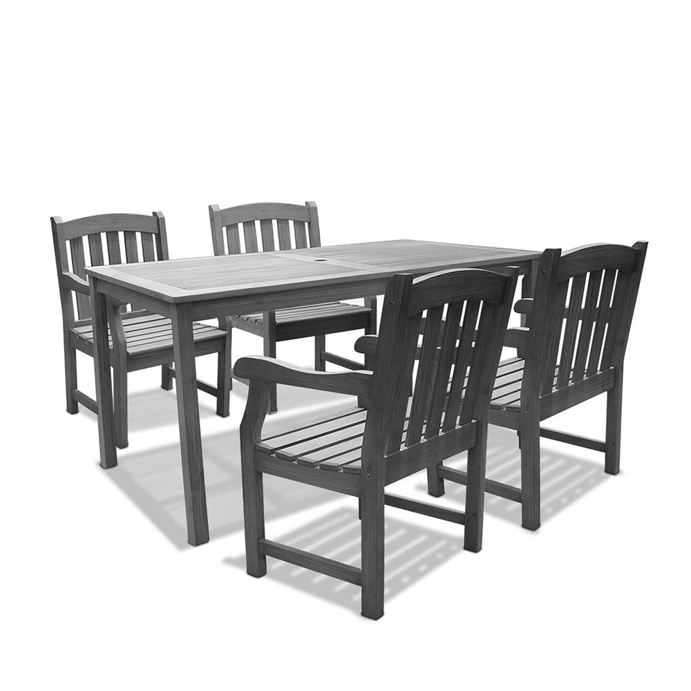 Vifah Renaissance Hand-Scraped Acacia 5-Piece Patio Dining Set with 32 in. W Table and Arched Slat-Back Armchairs