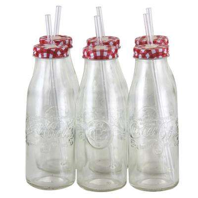 6-Piece Clear Glass Coca Cola Country Classic Bottle Set
