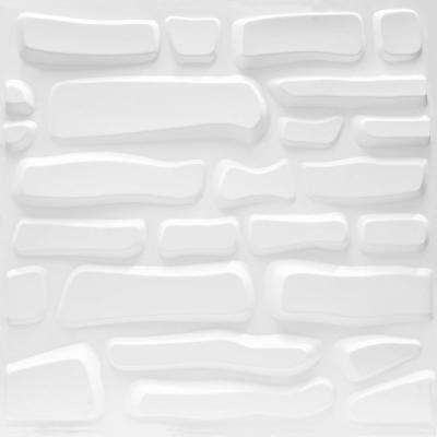 19.7 in. x 1 in. x 19.7 in. White PVC Fiber 3D Wall Panels (12-Pack)