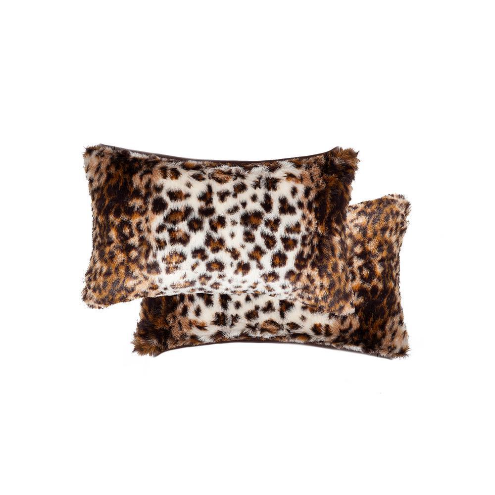 12 in. x 20 in. Belton Georgetown Lynx Faux Fur Pillow (Set of 2)