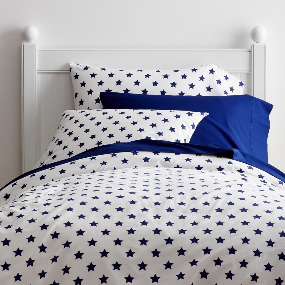 Stars Cotton Percale Blue Tide Full Duvet Cover