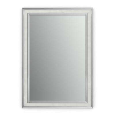 33 in. x 47 in. (L1) Rectangular Framed Mirror with Standard Glass and Flush Mount Hardware in Chrome and Linen