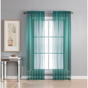 Window Elements Sheer Diamond Sheer Voile Extra Wide 84 inch L Rod Pocket Curtain Panel Pair, Grey Teal (Set of 2) by Window Elements