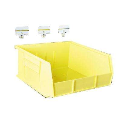 LocBin 10-7/8 in. L x 11 in. W x 5 in. H Yellow Polypropylene Hanging Bin and BinClip Kits (6-Count)