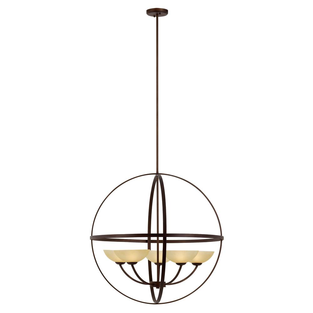 Transglobe 5-Light Antique Bronze Chandelier with Tea Stained Shades