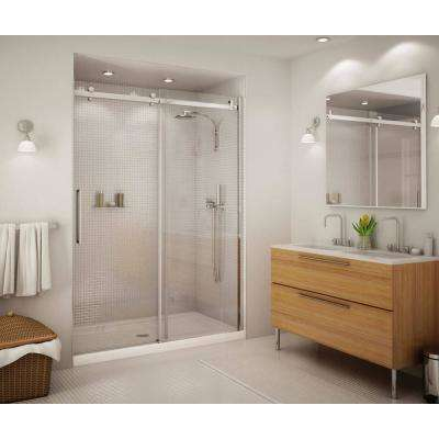 Halo 59 in. x 78-3/4 in. Semi-Framed Sliding Shower Door Clear Glass in Chrome