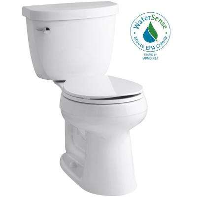 Cimarron Comfort Height 2-Piece Single Flush 1.28 GPF Round Toilet in White with Cachet Q3 Toilet Seat