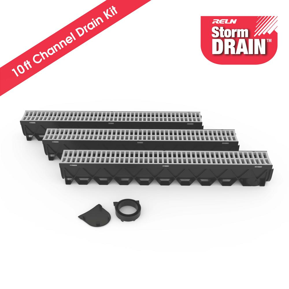 RELN Storm Drain Series 5 in. W x 5.25 in. D x 39.4 in. L Channel Drain Kit with Portland Grey Grate (3-Pack)
