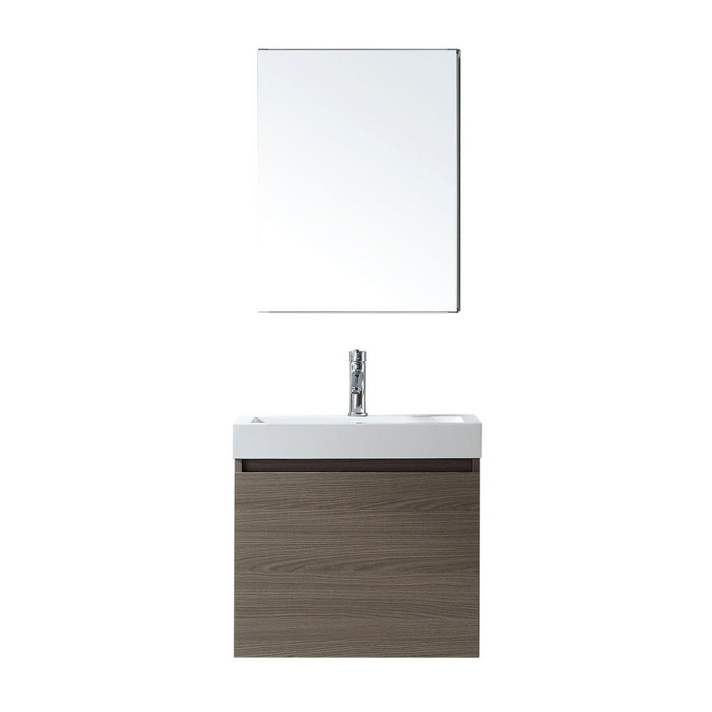 Virtu USA Zuri 24 in. W Bath Vanity in Gray Oak with Polymarble Vanity Top in White with Square Basin and Mirror and Faucet