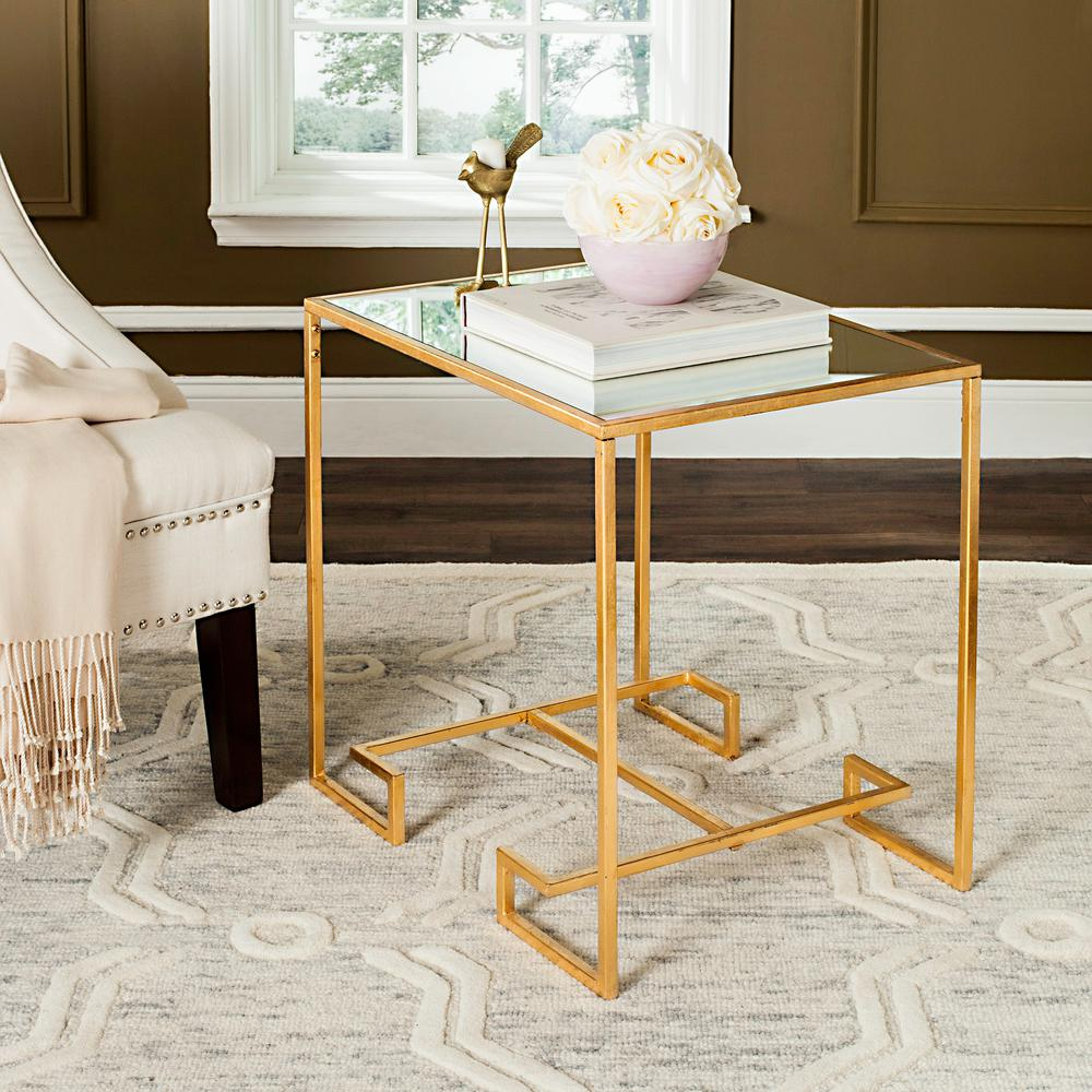 Safavieh Seamus Antique Gold Gl Side Table