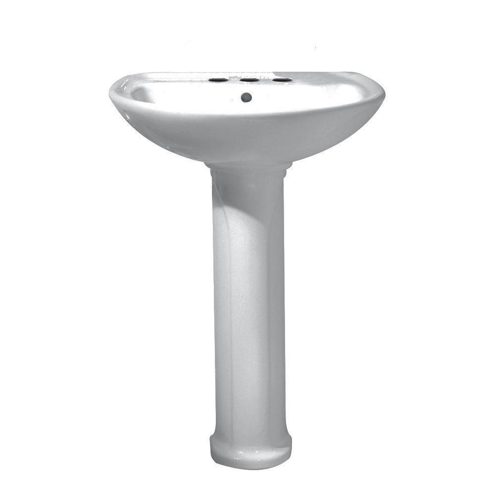 American Standard Cadet Pedestal Combo Bathroom Sink in Silver-DISCONTINUED