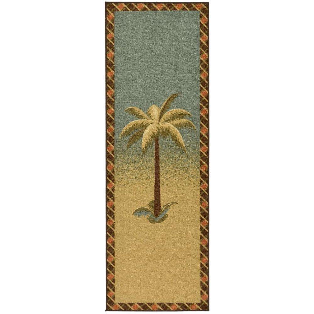 Ottomanson Sara's Kitchen Collection Palm Tree Design Sage 1 ft. 8 in. x 4 ft. 11 in. Kitchen Runner