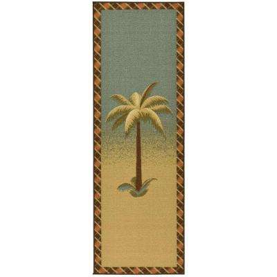 Sara's Kitchen Collection Palm Tree Design Sage 1 ft. 8 in. x 4 ft. 11 in. Kitchen Runner