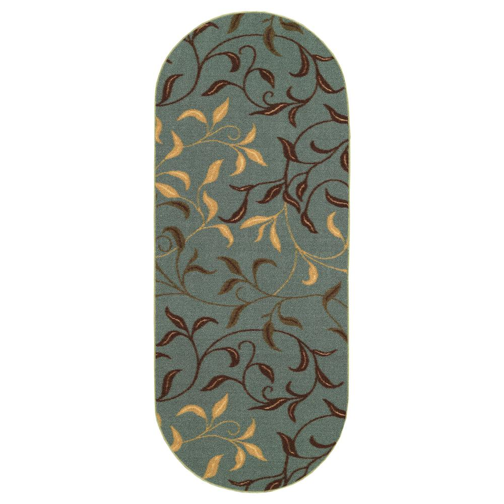 Ottomanson Ottohome Collection Contemporary Leaves Design Seafoam 2 ft. x 5 ft. Oval Runner Rug was $17.89 now $13.42 (25.0% off)