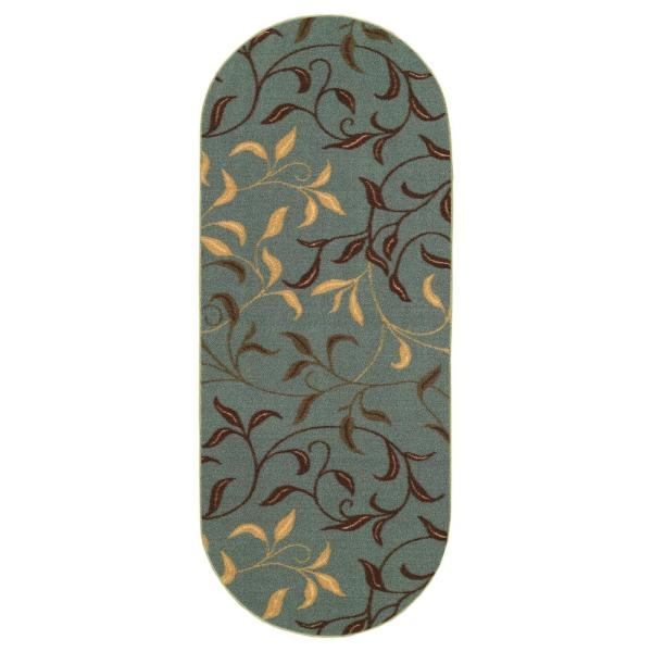 Ottohome Collection Contemporary Leaves Design Seafoam 2 ft. x 5 ft. Oval Runner Rug