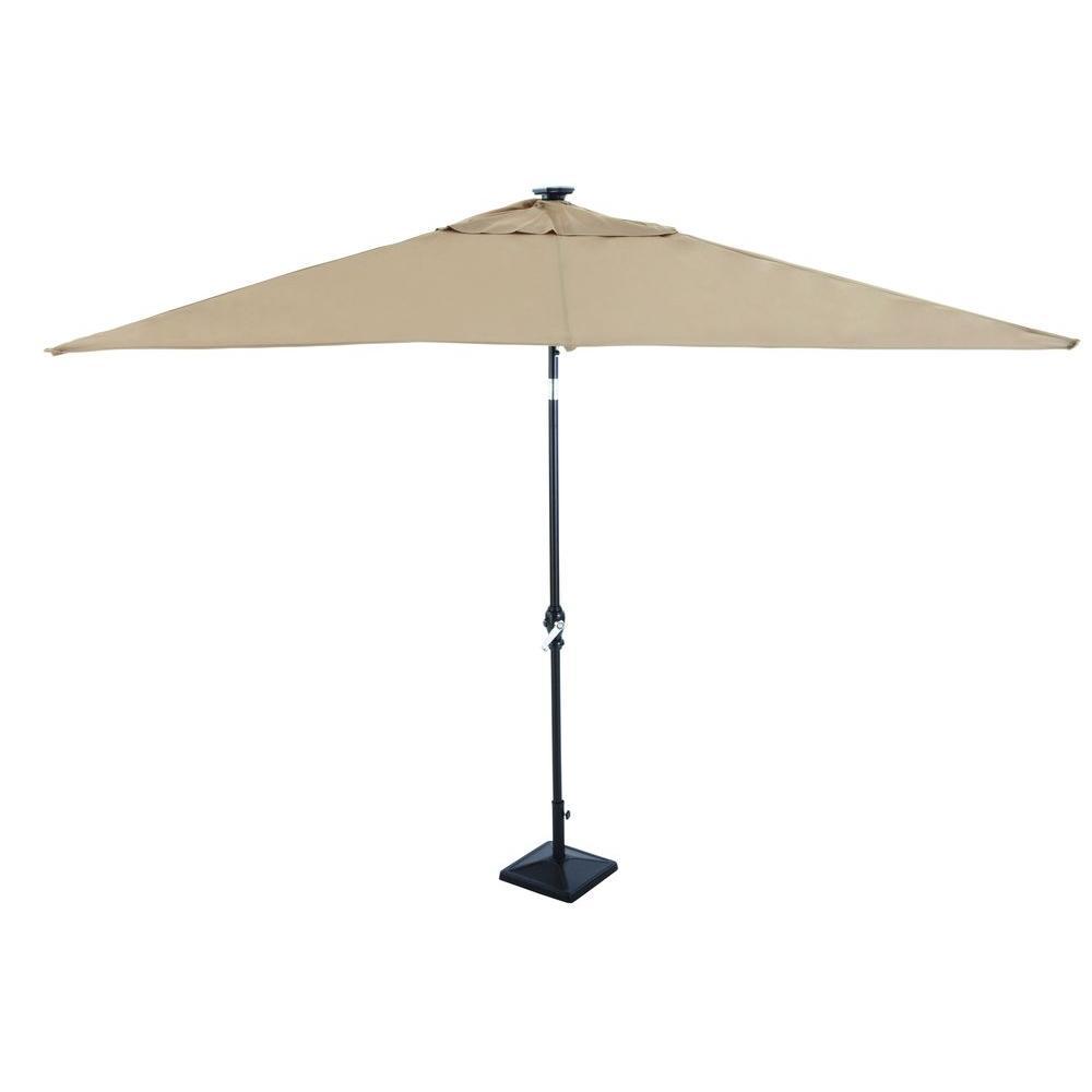 Hampton Bay 9 Ft Rectangular Solar Powered Patio Umbrella In Taupe