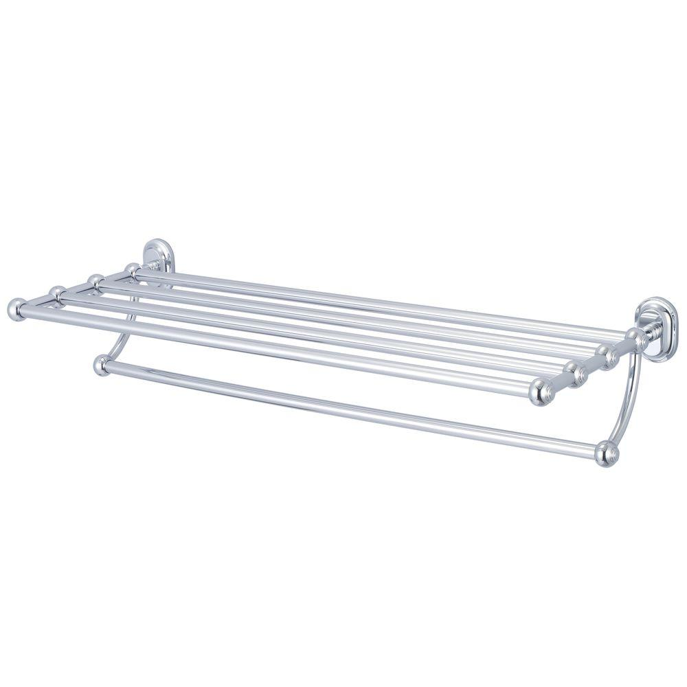 Water Creation 29 in. Towel Bar and Bath Train Rack in Triple Plated ...