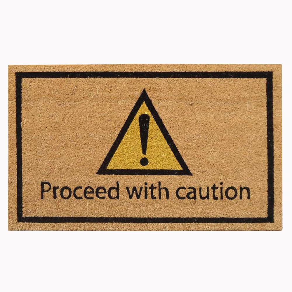 18 in. x 30 in. Proceed with Caution Super Scraper Door Mat