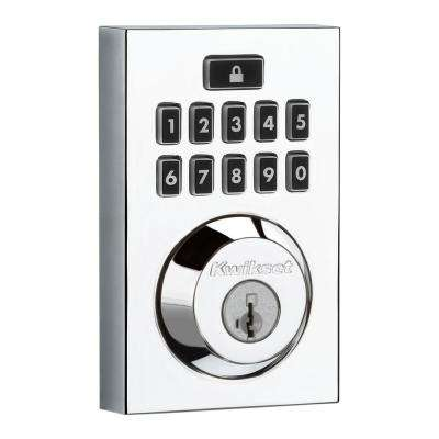 SmartCode 913 Contemporary Polished Chrome Single Cylinder Electronic Deadbolt featuring SmartKey