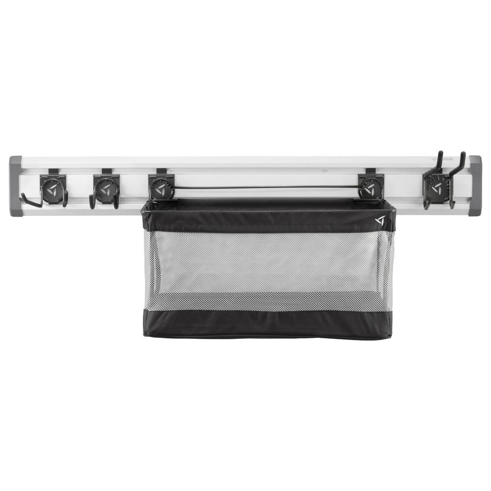 Gladiator 48 in. L GearTrack Sports Garage Wall Storage Kit with 3-Hooks and Mesh Basket