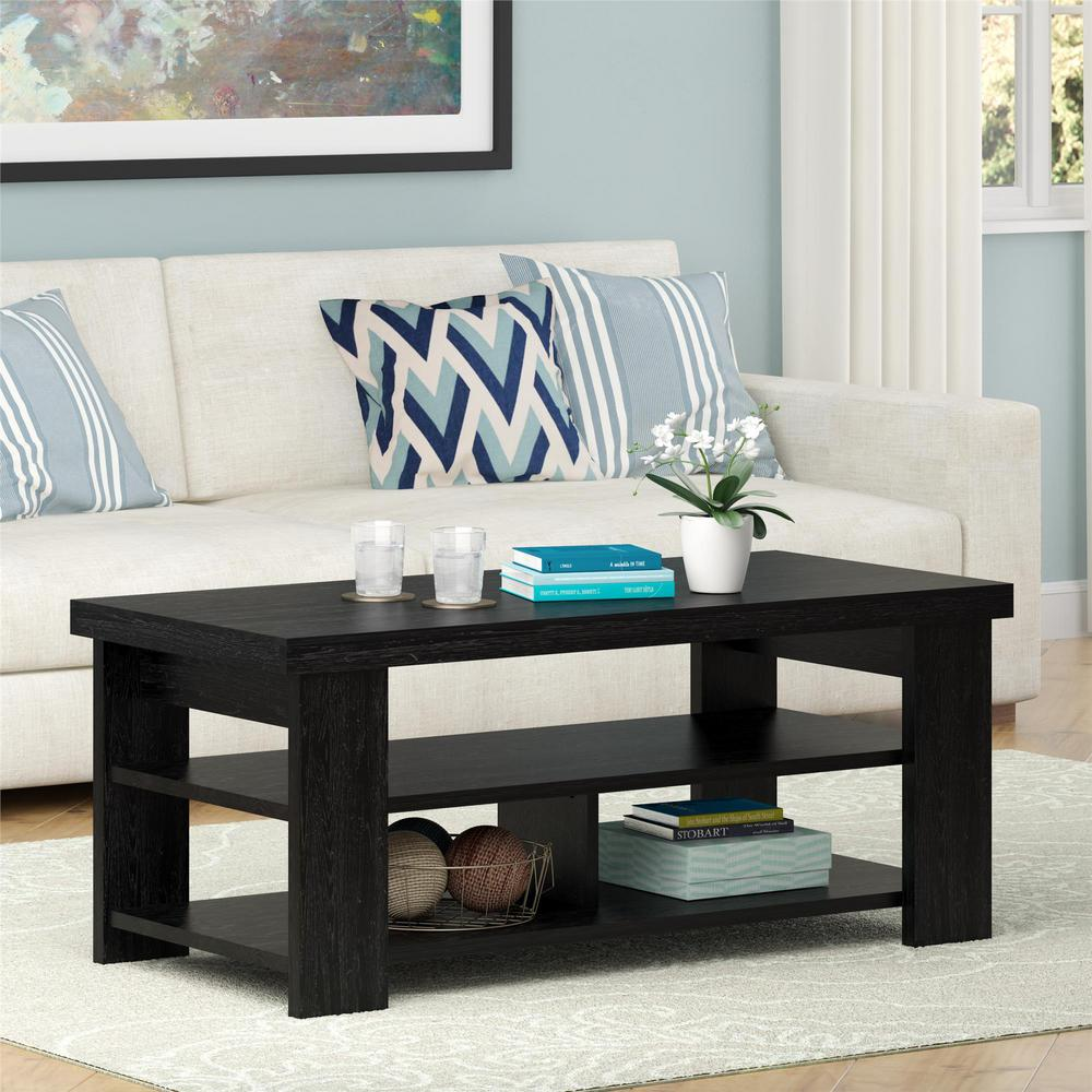 black and gray living room. Jensen Black Ebony Ash Storage Coffee Table  Accent Tables Living Room Furniture The Home Depot