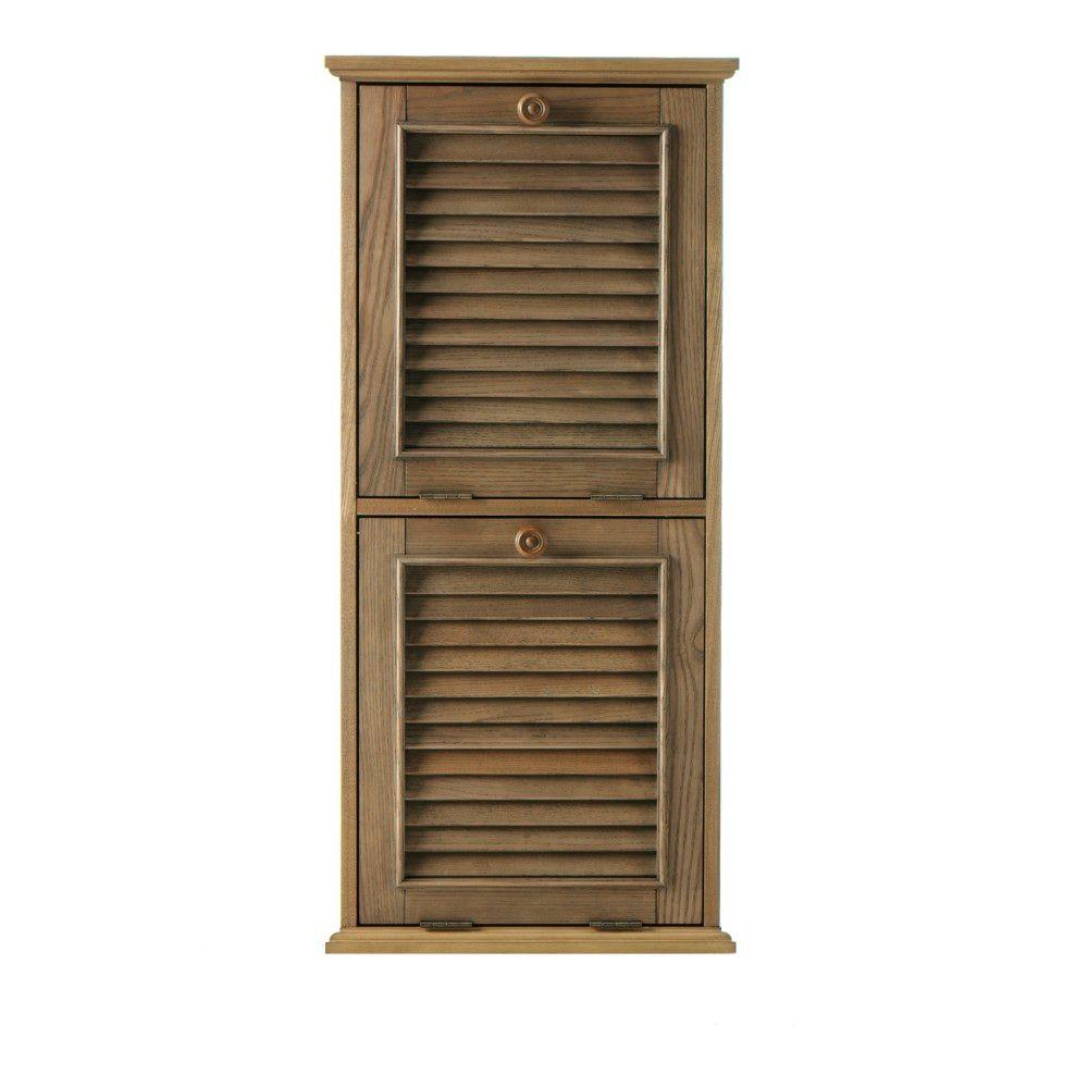 Home Decorators Collection Shutter 22-Gal. Weathered Oak Wood Recycle Bin