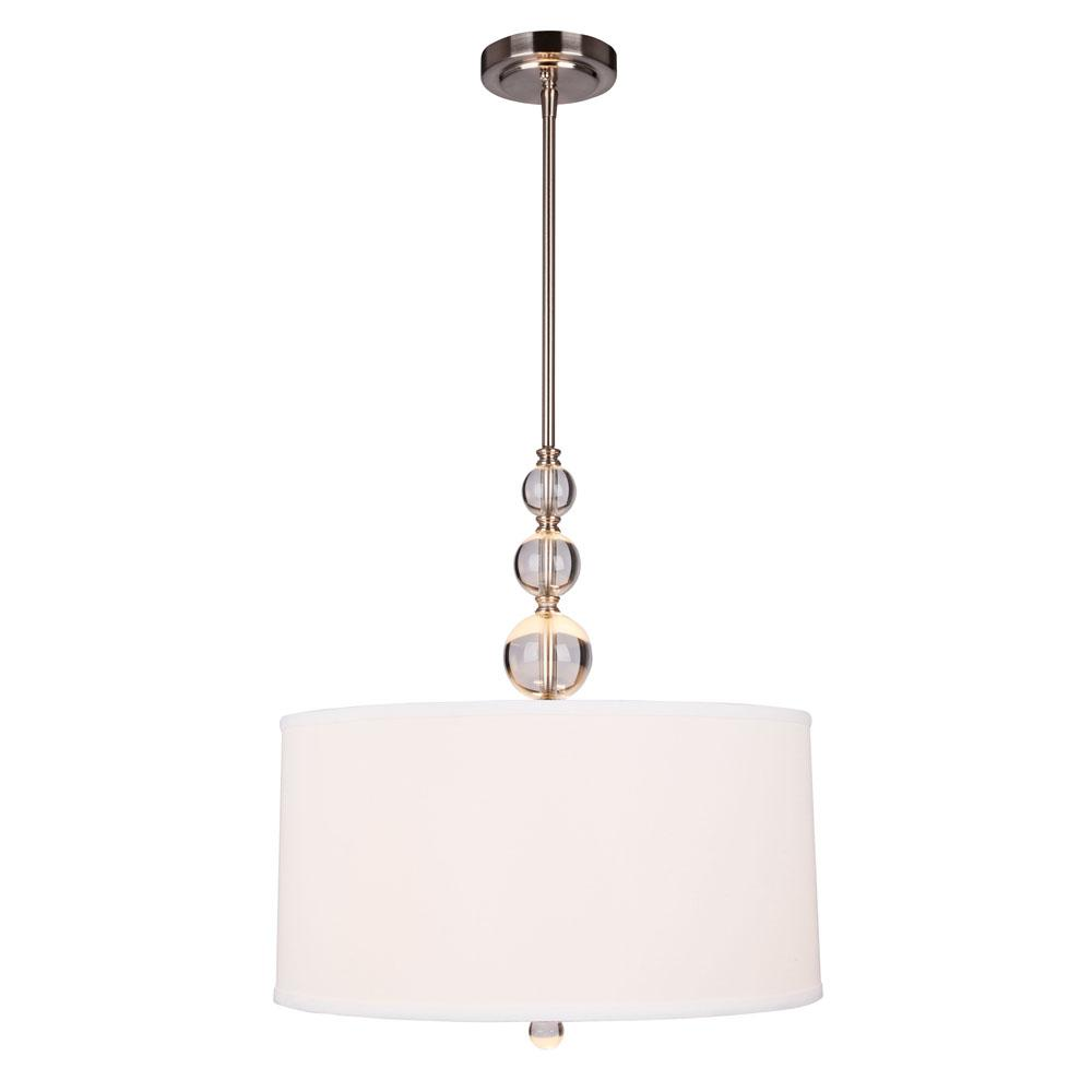 Hampton Bay Laurel Hill 3 Light Brushed Nickel Pendant With Opal Gl Shades And Ball Accents