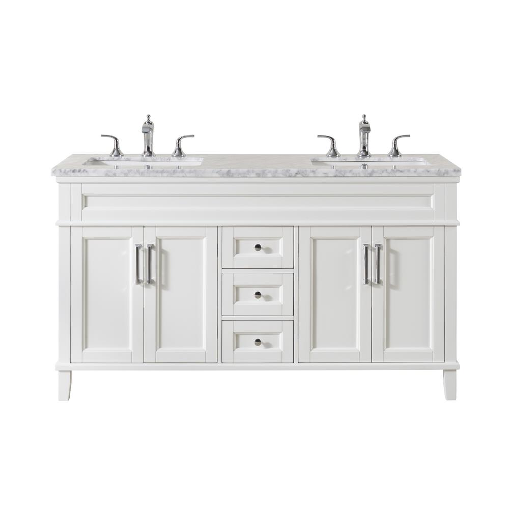 Stufurhome Melody 59 In Bath Vanity In White With Marble