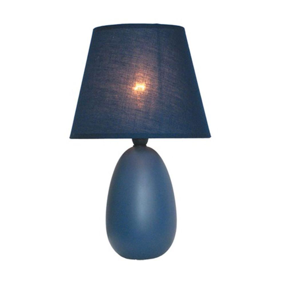9.45 in. Blue Oval Egg Ceramic Mini Table Lamp