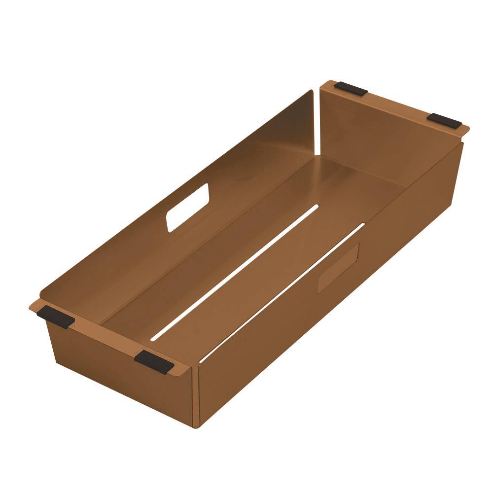 Noah Plus 17 in. Stainless Steel Sink Colander in Copper