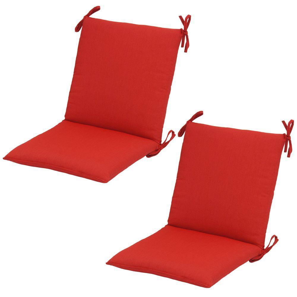Hampton Bay 20 X 17 Outdoor Dining Chair Cushion In Standard Ruby Tweed (2