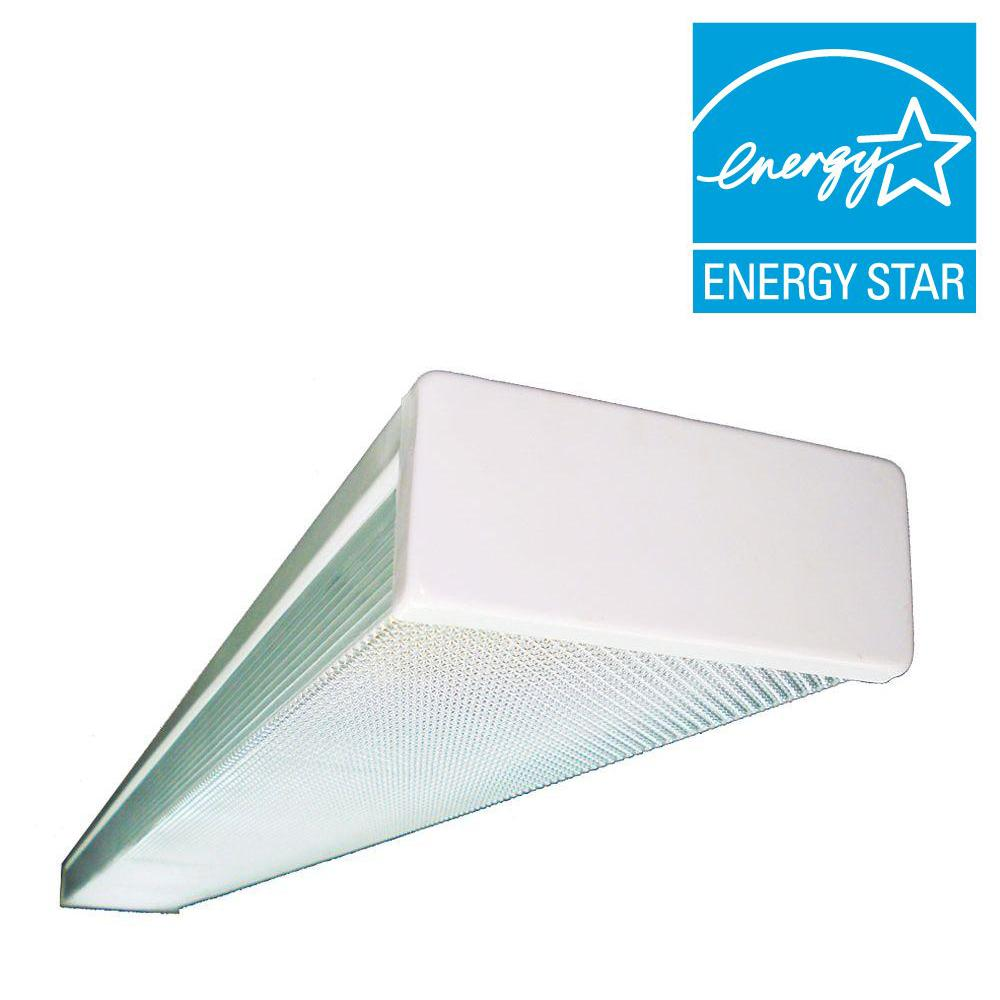 Fluorescent Light Lens : Light white fluorescent wraparound steel ceiling fixture