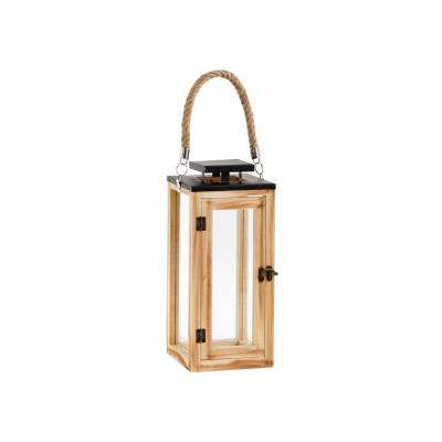 14 in. Wood and Glass Outdoor Patio Lantern with Metal Top