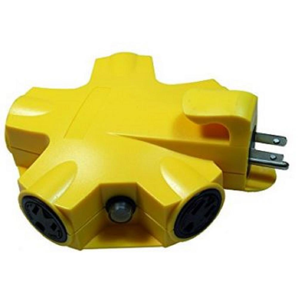 Yellow Jacket 5-Outlet Outdoor Heavy-Duty Extension Cord Adapter Converter with 2-Cord Locks