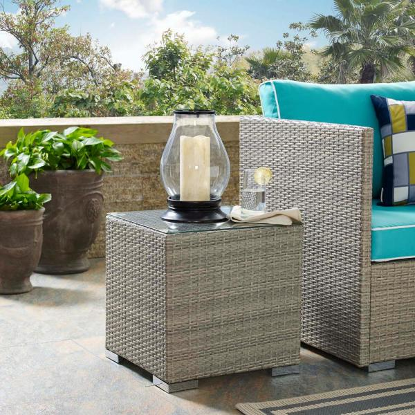 Repose Patio Wicker Outdoor Side Table in Light Gray