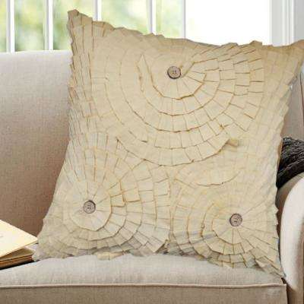 A1HC Layers Of flowers Pillow 100% Beige Cotton Decorative Pillow