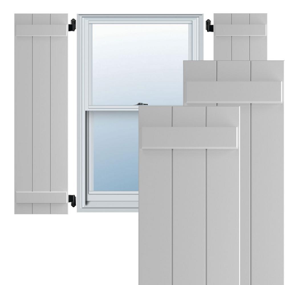 Ekena Millwork 16 1 8 X 33 True Fit Pvc Three Board Joined Board N Batten Shutters Primed Per Pair 1572519 The Home Depot
