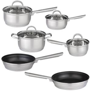 BergHOFF Dorato 10-Piece 18/10 Stainless Steel Cookware Set with Lids by