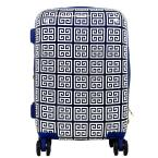 Geo Print 29 in. Blue Hard Sided Rolling Suitcase