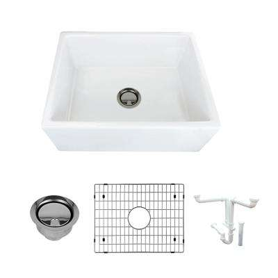 Porter All-in-One Farmhouse/Apron-Front Fireclay 24 in. Single Bowl Kitchen Sink in White