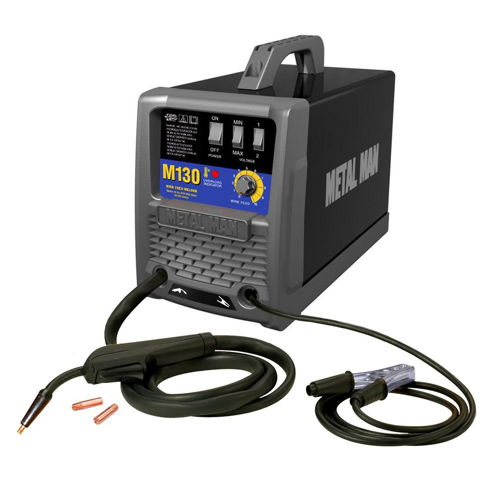METAL MAN 130 Amp MIG And Flux Core Wire Welder-M130 - The Home Depot