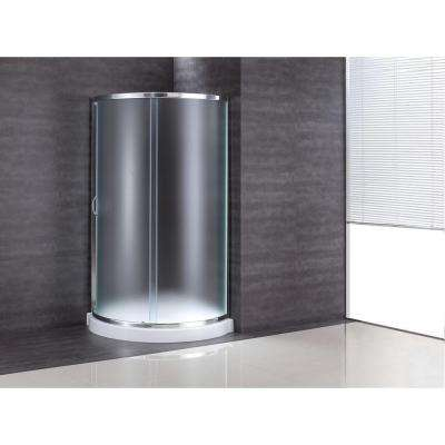 31 in. x 31 in. x 76 in. Shower Kit with Intimacy Glass, Shower Base in White